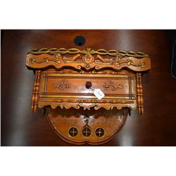 "Antique custom made wall sconce with single drawer, personalized possibly wedding gift for "" Mr. & M"