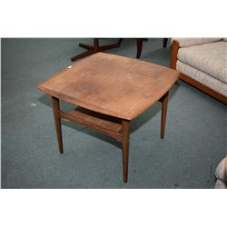 Mid century modern teak side table with under shelf made in Norway by GANDDAL MOBLEFABRIKK