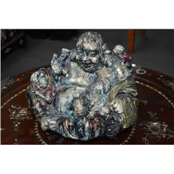 "Majolica Buddha figure covered with children figure 14"" wide. Note: No Shipping. Local Pickup Only"