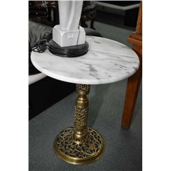 Two single pedestal brass based and marble top side tables