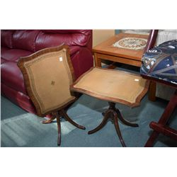 Pair of matching leather top, center pedestal tilting side tables made by Reprodux New Haven, Englan