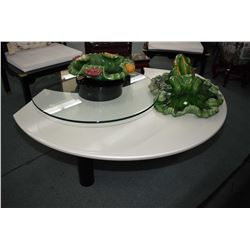 Quality modern two tier coffee table with pearl acrylic lower tier and glass upper on black from, 60