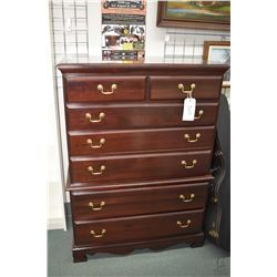 Six drawer modern high boy made by Crawford Furniture USA