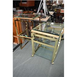 Oriental influenced brass and glass drink's butler and two side tables