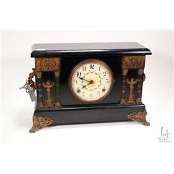 Antique faux chiming mantle clock with cast attached decorations made by Sessions, appears complete