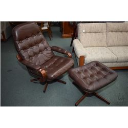 Mid century leather upholstered button tufted swivel reclining chair with ottoman, matches lot 339