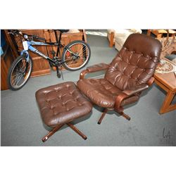 Mid century leather upholstered button tufted swivel reclining chair with ottoman, matches lot 338