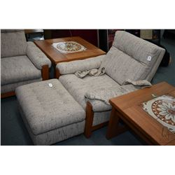 Mid century modern upholstered loveseat, matching chair and ottoman, all with teak show wood