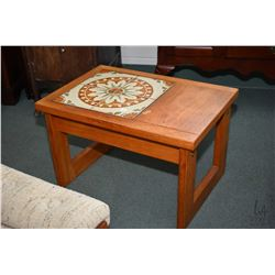 Mid century modern teak coffee and two end tables with inset tile top