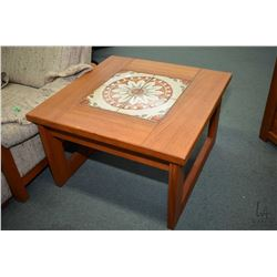 Pair of matching mid century modern teak end tables with tile tops