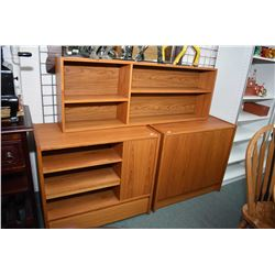 Selection of mid century style furniture including two door cabinet containing shelf and hidden draw
