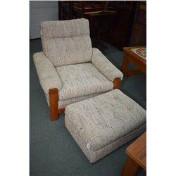 MId century modern loveseat and chair with ottoman