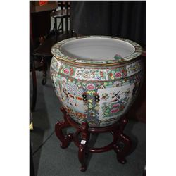 "Oriental hand painted fishbowl on wooden stand, 26"" including stand. Note: No Shipping. Local Pickup"