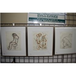 "Three framed original pencil drawings including two pencil and watercolour 11"" X 8 1/2 "" and a 10"" X"