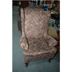Vintage upholstered wing back chair