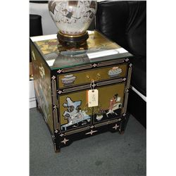 Two Oriental style lacquered hand painted side table with two doors and single drawer, brass hardwar