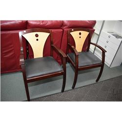 Two modern open arm side chairs with bird's eye maple back panels, made by La-Z-boy