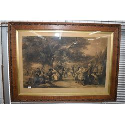 "Antique oak framed engraved picture "" An English Merry-Making in Olden Times"" circa 1850's, overall"