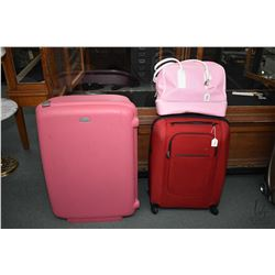 Two pieces of Samsonite luggage and an Escade carry-on bag. Note: No Shipping. Local Pickup Only