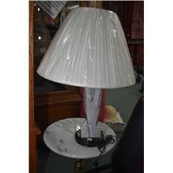Onyx double faced table lamp with shade