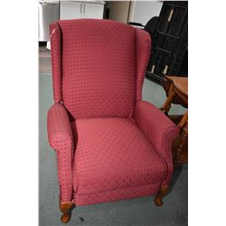 Quality upholstered La-Z-boy reclining wing back chair