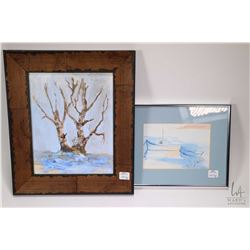 Two original artworks including oil on canvas stylized tree and a watercolour boat painting, both ar