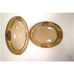"""Pair of matched antique gilt oval convex picture frames, both 25"""" X 18 1/2"""" overall dimension. Note:"""