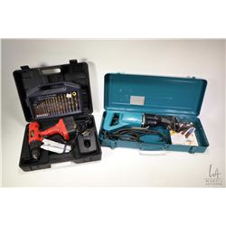Mikita JR3000 reciprocating saw in metal case a Bench Mark drill index and a Power Max 18 volt cordl