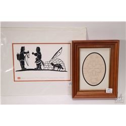 "Unframed Inuit print titled ""Eskimo Returning From Hunt"" signed by artist Henry Napartuk and a bark"