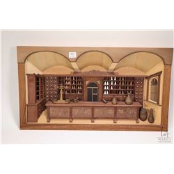 """Framed treenware 3 dimensional picture of an apothecary 12"""" X 20 1/2"""""""