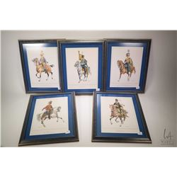 Set of five mounted military prints including Stati Uniti d' America 1850-60 and Impero russo 1762 e