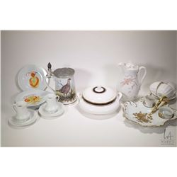 Two tray lots of china collectibles including Limoges handled tray with cream and sugar, three Shell