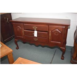 "Modern antique style sideboard with three doors, two drawer and ball and claw feet, 56"" wide"