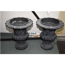 "Pair of simulated cast iron 28"" high planters . Note: No Shipping. Local Pickup Only"