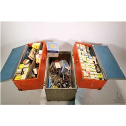 G.E Tubes serviceman's box containing a large selection of TV and radio tubes, many in original pack
