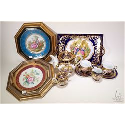 Limoges love story cobalt and gilt tea set including tray, teapot, cream and sugar plus two cups and