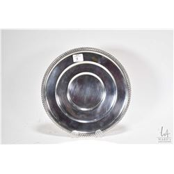 "Birks sterling silver plate with rope design edging and British hallmarks 9"" in diameter"
