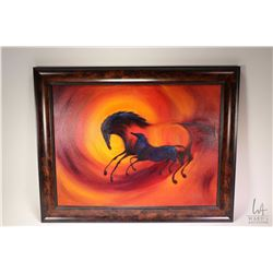 "Framed acrylic on canvas painting of stylized horses by P. Thomson, 18"" X 24"""
