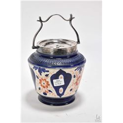 Antique Staffordshire Imari biscuit barrel with silver plate handle and lid with Wilkinson & Wardle