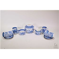 Antique Spode Copeland 1327 Willow patterned tea set including tea pot and six demis and saucers, no