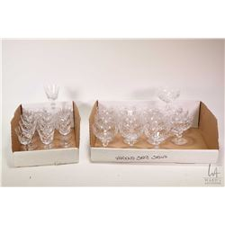 Selection of cross and olive crystal stemware including nine wine glasses, six tumblers marked Edinb