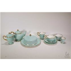 Adorable Staffordshire mint green and gold china breakfast service for one including tea pot, cream