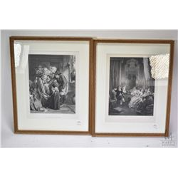 "Two vintage etched prints including ""Art Critics in Brittany"" by A. Solomon and Les Femmes Savantes"