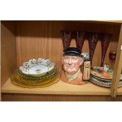 "Large selection of collectibles including Royal Doulton character jug ""Golfer"" D6623, Moser style cr"