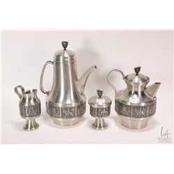 Mid century Norsk Snorre Tinn Pewter tea and coffee service signed B J H 75 including teapot, coffee