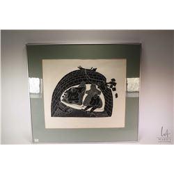 "Framed Inuit print titled ""Taimgu"" (Stop That) by Holman (Ulukhaktok) artist (Patrick) Akovak 11/50,"