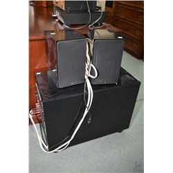 Nuance sub woofer module N-200, and a pair of Nuance Superone stereo speakers, serial no. AS1-032140