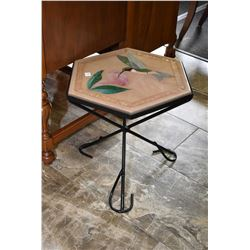 Custom hexagonal side table with hummingbird motif acrylic top and center pedestal metal base