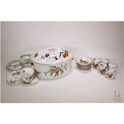 Selection of Royal Worcester Evesham including five lidded chocolate pots, eight shell shaped dishes