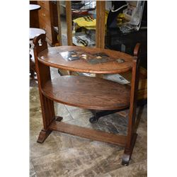 Antique oak two tier occasional table with inset tile top